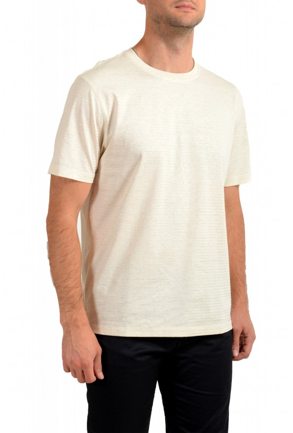 "Hugo Boss Men's ""Tseed"" Beige Striped Crewneck T-Shirt: Picture 2"