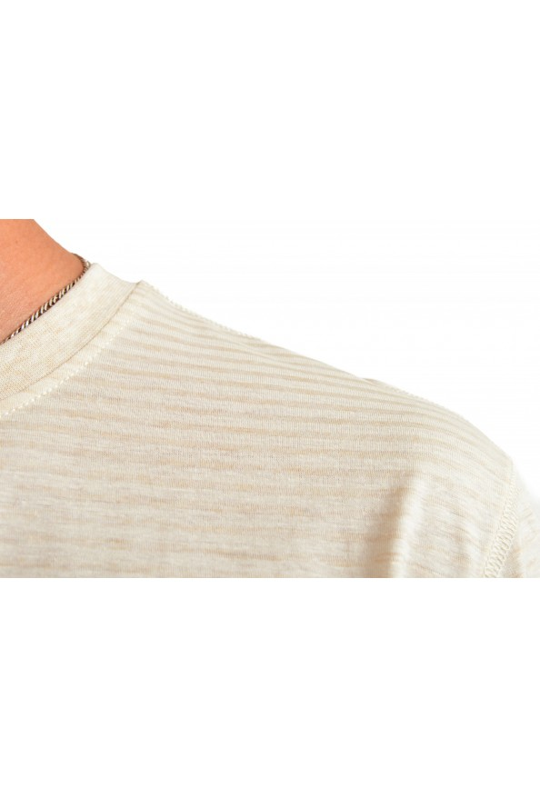 "Hugo Boss Men's ""Tseed"" Beige Striped Crewneck T-Shirt: Picture 4"