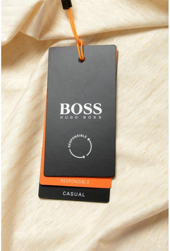 "Hugo Boss Men's ""Tseed"" Beige Striped Crewneck T-Shirt: Picture 6"