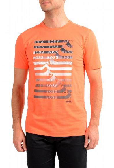 "Hugo Boss Men's ""Teeonic"" Orange Graphic Print Crewneck T-Shirt"