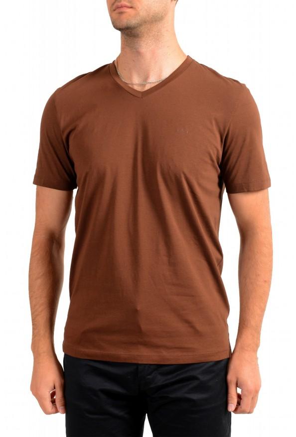 """Hugo Boss Men's """"Canistro 80"""" Brown V-Neck T-Shirt"""
