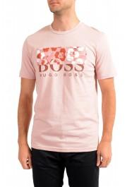 "Hugo Boss Men's ""Teally"" Pink Graphic Print Crewneck T-Shirt"