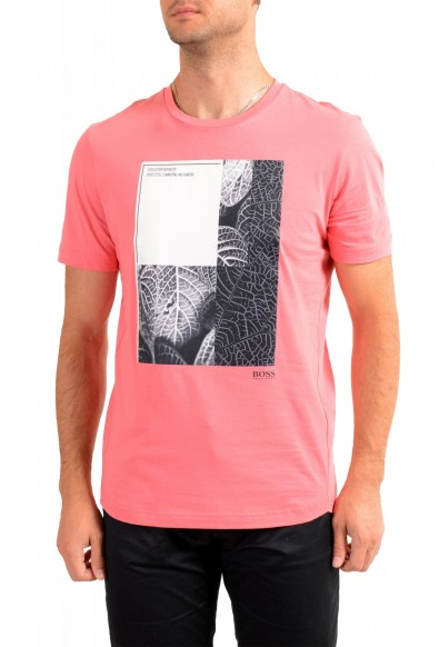 "Hugo Boss Men's ""Tee 9"" Pink Graphic Print Crewneck T-Shirt"