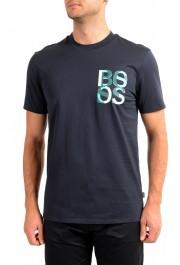 "Hugo Boss Men's ""Tiburt 209"" Blue Graphic Print Crewneck T-Shirt"