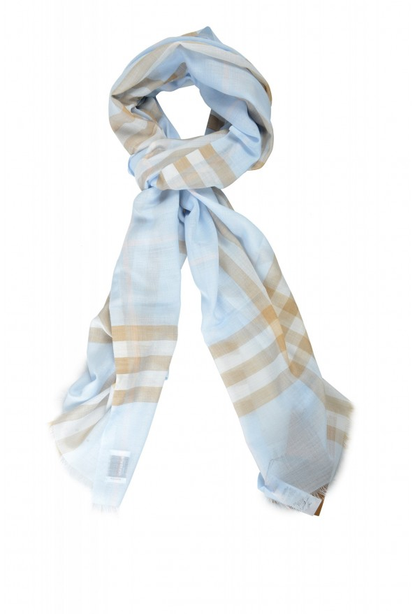 Burberry Unisex Multi-Color Plaid Wool Silk Shawl Scarf: Picture 4