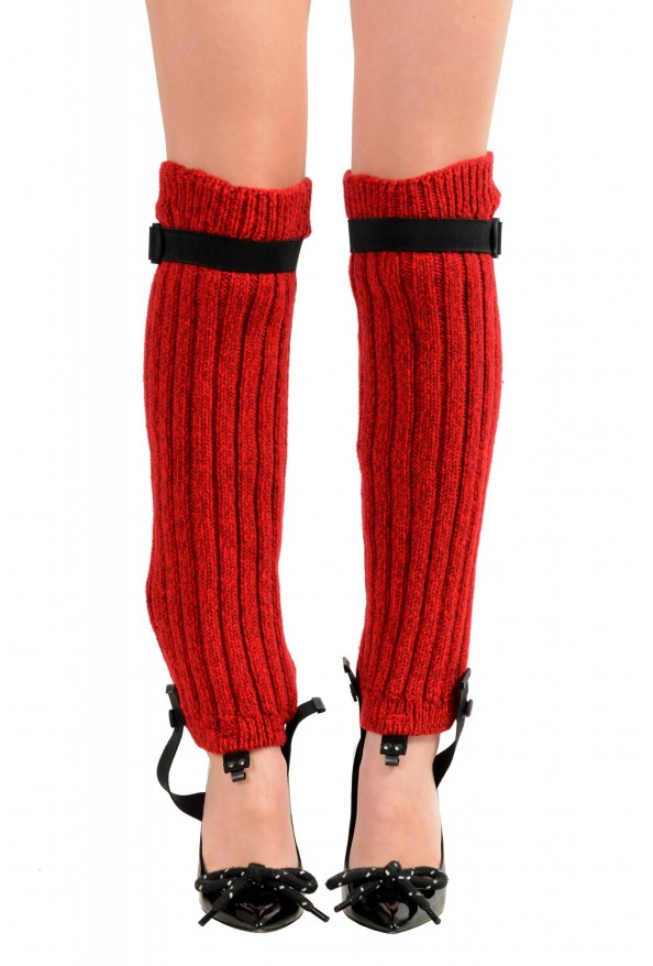 Moncler Women's Red Wool Knitted Leg Warmers: Picture 8