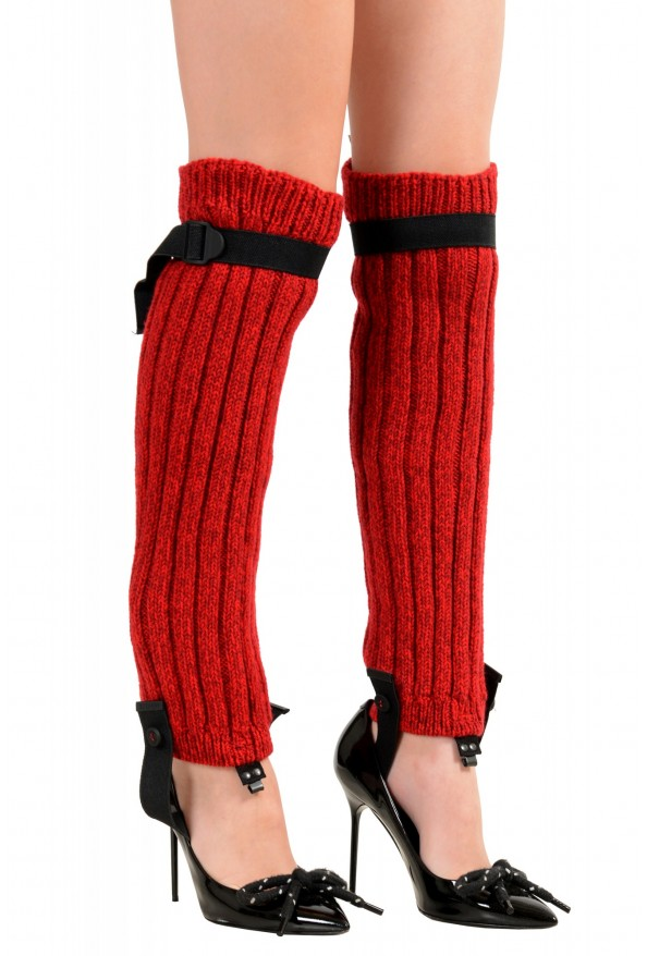 Moncler Women's Red Wool Knitted Leg Warmers