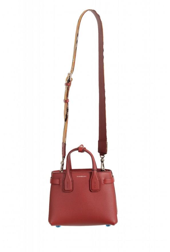 "Burberry Women's ""Baby Banner"" Red Textured Leather Handbag Bag"