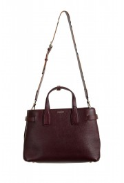 "Burberry Women's ""MD Banner"" Purple Textured Leather Satchel Handbag Bag"
