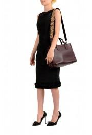 "Burberry Women's ""MD Banner"" Purple Textured Leather Satchel Handbag Bag: Picture 9"