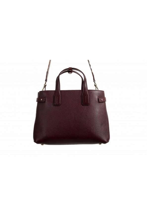 "Burberry Women's ""MD Banner"" Purple Textured Leather Satchel Handbag Bag: Picture 3"