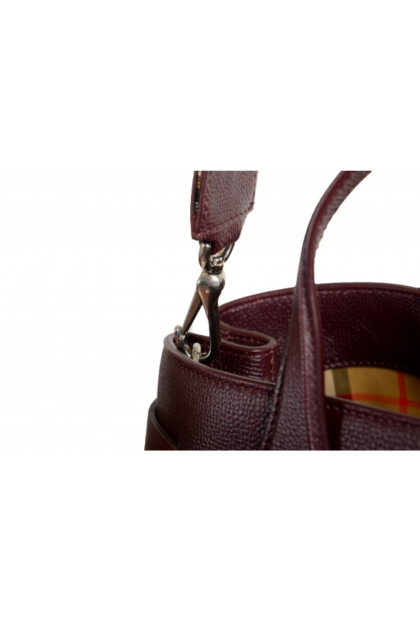 "Burberry Women's ""MD Banner"" Purple Textured Leather Satchel Handbag Bag: Picture 5"