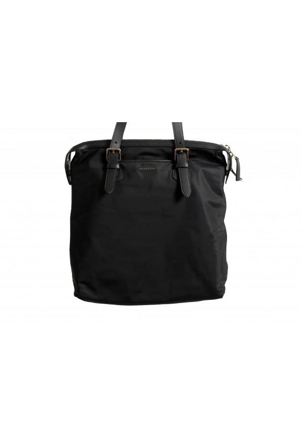 "Burberry Women's ""Trenton"" Black Leather Trimmed Tote Handbag Bag: Picture 2"