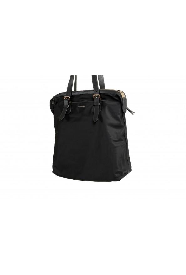 "Burberry Women's ""Trenton"" Black Leather Trimmed Tote Handbag Bag: Picture 4"