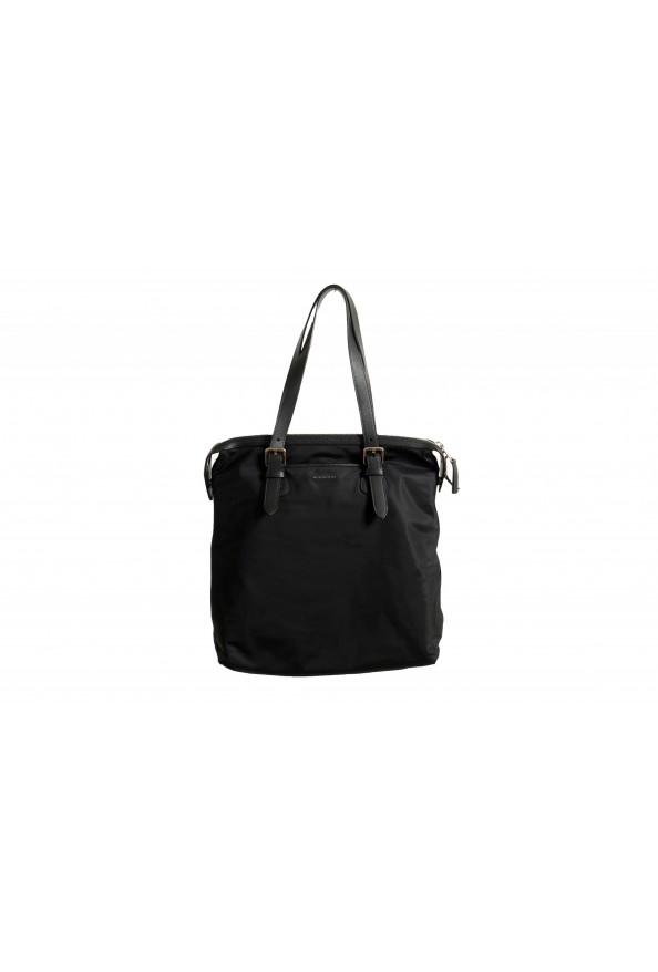 "Burberry Women's ""Trenton"" Black Leather Trimmed Tote Handbag Bag"