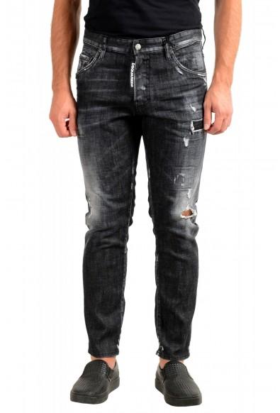 """Dsquared2 Men's Off Black Distressed Look """"Skater Jean"""" Jeans"""