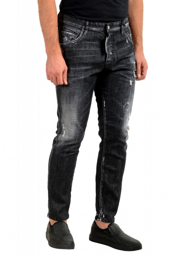 """Dsquared2 Men's Off Black Distressed Look """"Skater Jean"""" Jeans: Picture 2"""