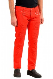 """Dsquared2 Men's Red Distressed Look """"Slim Jean"""" Jeans: Picture 2"""