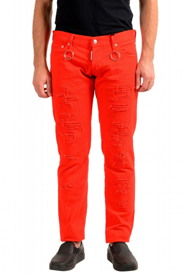 """Dsquared2 Men's Red Distressed Look """"Slim Jean"""" Jeans"""
