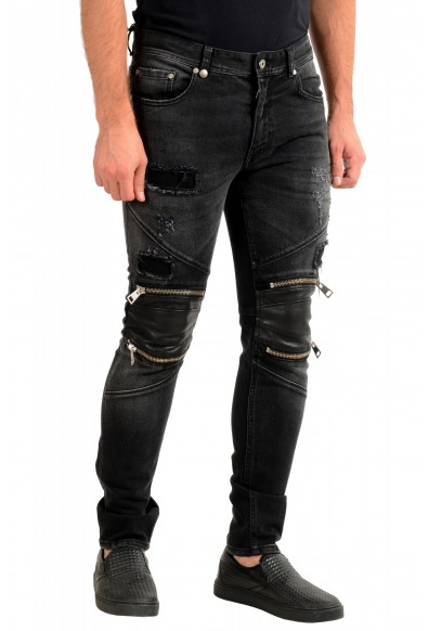 Just Cavalli Men's Off Black Distressed Look Jeans : Picture 2