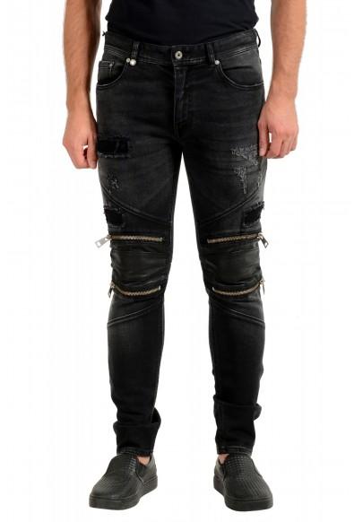 Just Cavalli Men's Off Black Distressed Look Jeans