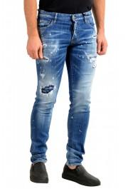 "Dsquared2 Men's ""Slim Jean"" Blue Distressed Straight Leg Jeans : Picture 2"