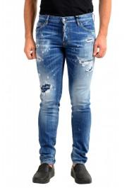 "Dsquared2 Men's ""Slim Jean"" Blue Distressed Straight Leg Jeans"