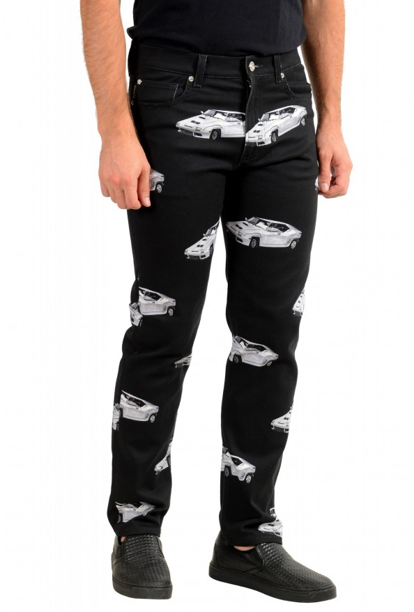 Versace Men's Black Graphic Print Straight Leg Jeans: Picture 2