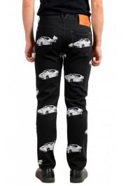 Versace Men's Black Graphic Print Straight Leg Jeans: Picture 3