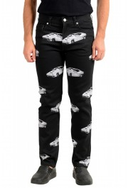 Versace Men's Black Graphic Print Straight Leg Jeans