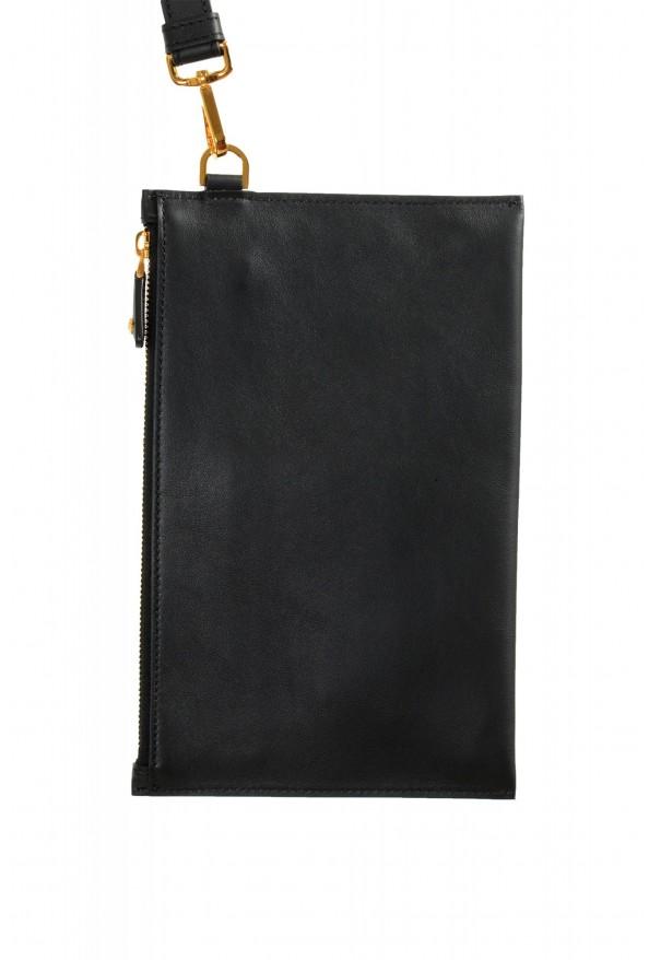 Versace Women's Black Leather Gold Medusa Clutch Handbag Bag: Picture 3