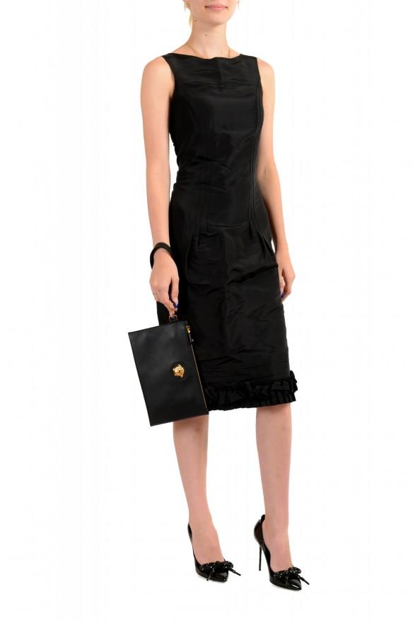 Versace Women's Black Leather Gold Medusa Clutch Handbag Bag: Picture 6