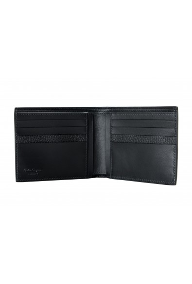 Salvatore Ferragamo Men's Black Pebbled Leather Logo Print Bifold Wallet: Picture 2
