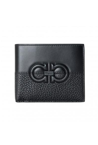 Salvatore Ferragamo Men's Black Pebbled Leather Logo Print Bifold Wallet