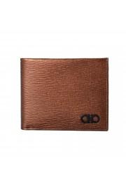 Salvatore Ferragamo Men's Logo Bronze 100% Textured Leather Bifold Wallet