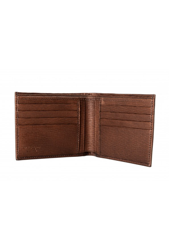 Salvatore Ferragamo Men's Logo Bronze 100% Textured Leather Bifold Wallet: Picture 3
