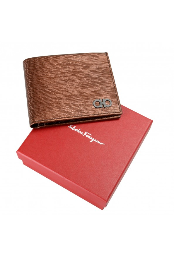 Salvatore Ferragamo Men's Logo Bronze 100% Textured Leather Bifold Wallet: Picture 6
