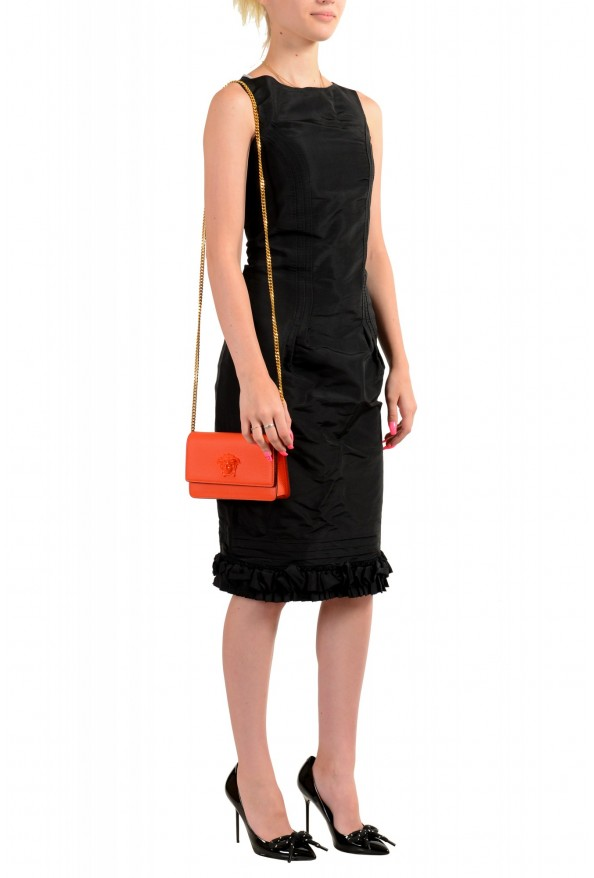 Versace Women's Tribute Orange Leather Clutch Wallet Shoulder Bag: Picture 7