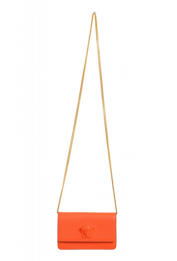 Versace Women's Tribute Orange Leather Clutch Wallet Shoulder Bag