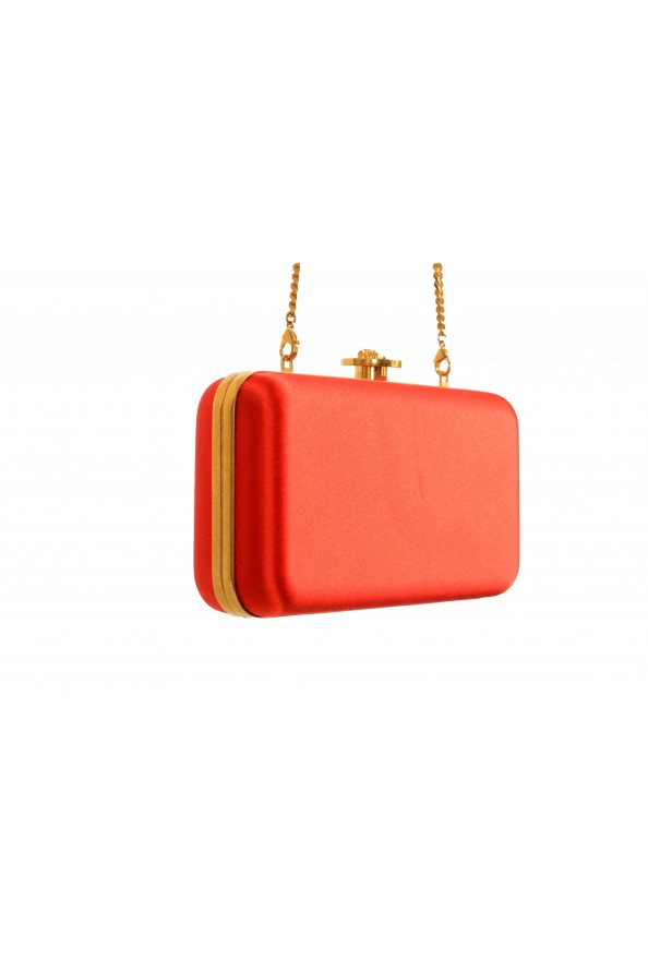 Versace Women's Tribute Orange Satin & Leather Clutch Shoulder Bag: Picture 3