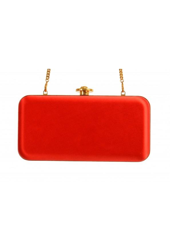 Versace Women's Tribute Orange Satin & Leather Clutch Shoulder Bag: Picture 4