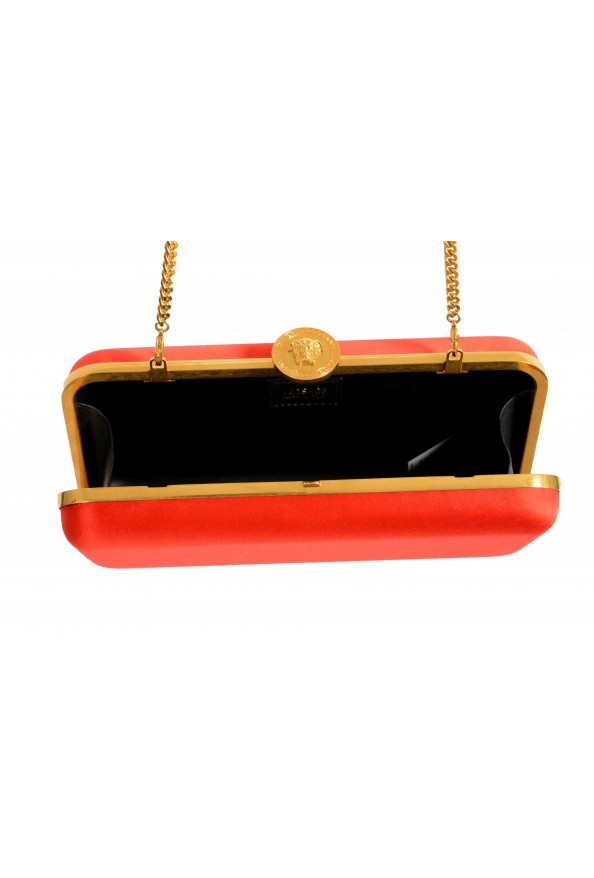 Versace Women's Tribute Orange Satin & Leather Clutch Shoulder Bag: Picture 5