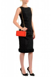 Versace Women's Tribute Orange Satin & Leather Clutch Shoulder Bag: Picture 7