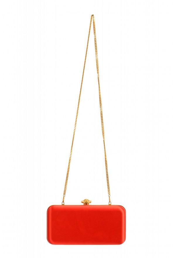 Versace Women's Tribute Orange Satin & Leather Clutch Shoulder Bag