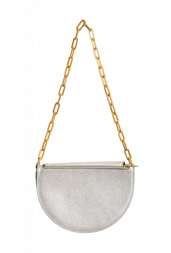 Burberry Women's Silver Textured Leather Clutch Shoulder Bag