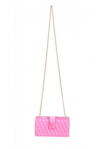 Versace Women's Flamingo Pink Leather Virtus Quilted Mini Bag