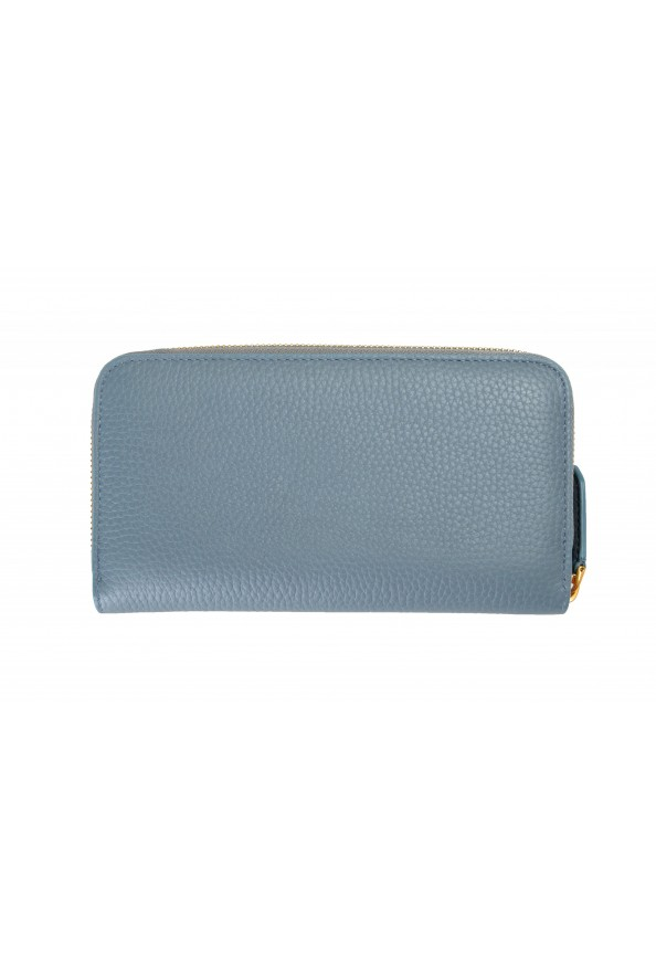 Burberry Women's Dusty Teal Blue Textured Leather Wallet: Picture 2