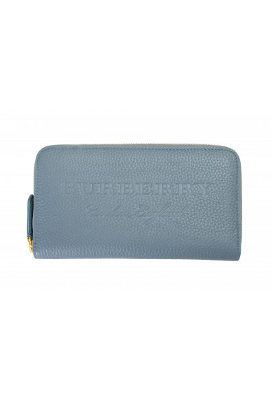 Burberry Women's Dusty Teal Blue Textured Leather Wallet
