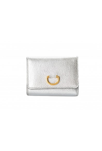 Burberry Women's Silver Textured Leather Bifold Wallet