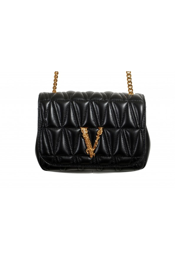 Versace Women's Black Virtus Quilted Leather Evening Bag: Picture 2